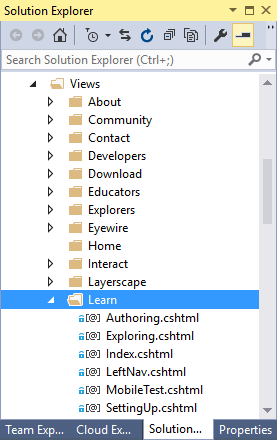 Solution Explorer - Views/Learn folder